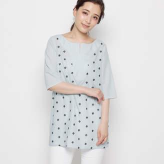 smartpink (スマートピンク) - スマートピンク smart pink 【洗える】ストライプ刺繍チュニックシャツ (サックス)