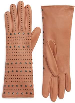 Agnelle Studded Lambskin Leather Gloves
