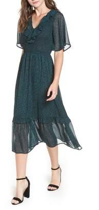 Moon River Leopard Print Smocked Dress