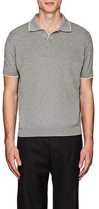 Barneys New York MEN'S CONTRAST-TIPPED COTTON POLO SHIRT - LIGHT GRAY SIZE L