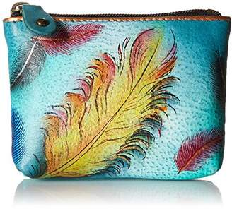 Anuschka Women's Hand Panted Pouch Floating Feathers Coin Purse,One Size
