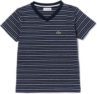 Lacoste (ラコステ) - Boys ボーダーVネックTシャツ (半袖)