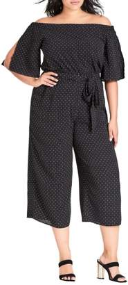 City Chic Spotty Off the Shoulder Jumpsuit