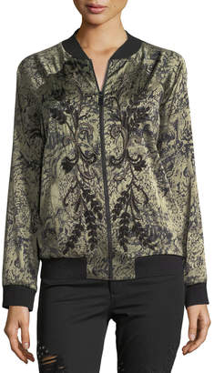 Haute Hippie Crystal Ball Zip-Front Bomber Jacket with Beaded Trim
