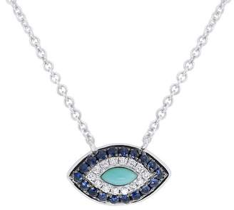 Ron Hami 14K White Gold Diamond, Sapphire, & Turquoise Evil Eye Pendant Necklace