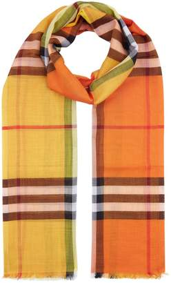 Burberry Colour Block Check Wool Silk Scarf