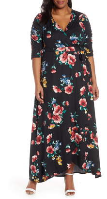 Kiyonna Meadow Dream Wrap Maxi Dress