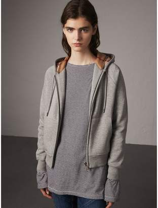 Burberry Hooded Zip-front Cotton Blend Sweatshirt