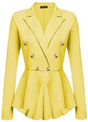 Lettre d'amour Women Double Breasted Suit Collar Blazer Jacket Outerwear Tops XL