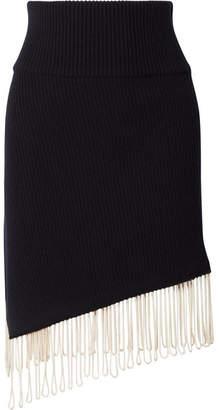Calvin Klein Asymmetric Fringed Ribbed-knit Skirt - Midnight blue