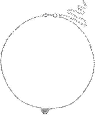 Primrose PRIMROSE Sterling Silver Heart Choker Necklace