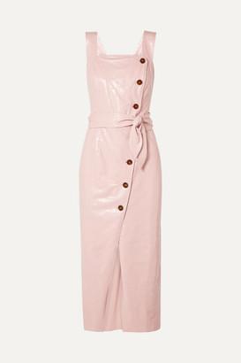 Nanushka - Zora Croc-effect Vegan Leather Wrap-effect Midi Dress - Pastel pink