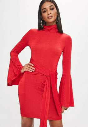 Missguided Tall Red Turtle Neck Flare Sleeve Dress