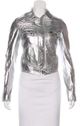 Christian Dior 2007 Metallic Leather Moto Jacket