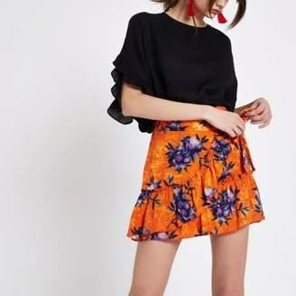 River Island Womens Orange floral jacquard frill wrap mini skirt