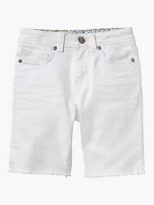 Boden Mini Girls' Long Denim Shorts, White