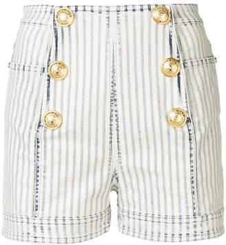 Balmain military striped denim shorts