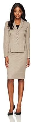 Le Suit Women's Novelty Tweed 3 Button Notch Lapel Skirt Suit