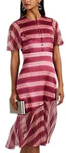 Women's Ikat-Inspired Silk Satin Dress - Raspberry Multi
