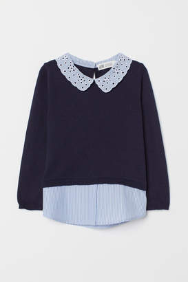 H&M Fine-knit Sweater with Collar - Blue
