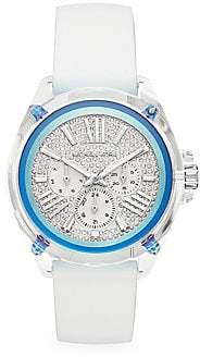 Michael Kors Two-Tone Crystal Pavé & White Silicone Strap Chronograph Watch
