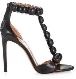 Alaà ̄a Alaà ̄a Women's Bombe Leather T-Strap Slingback Sandals - White - Size 40 (10)