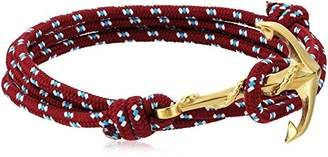 Crucible Jewelry Unisex Adult Gold Plated Polished Stainless Steel Anchor Clasp Red Rope Adjustable Wrap Bracelet (3mm Wide)