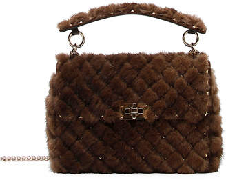 Valentino Spike.It Medium Quilted Fur Shoulder Bag