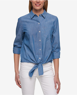 Tommy Hilfiger Tie-Front Shirt, Only at Macy's $59.50 thestylecure.com