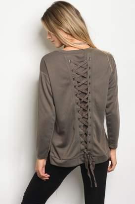 People Outfitter Mocha Lace-Up Sweatshirt