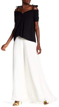Nicole Miller Spring Solids Wide Leg Silk Pants
