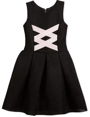 Zoe Box-Pleat Sleeveless Dress w/ Ballet Lace-Up Front, Black/Pink, Size 7-16