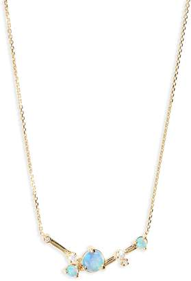 Wwake Organic Triangle Opal & Diamond Necklace