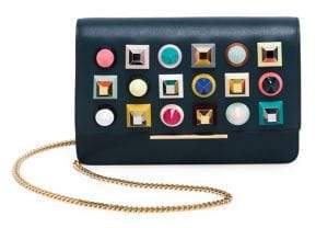 Fendi Studded Leather Chain Wallet
