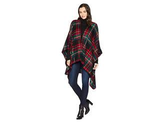 San Diego Hat Company BSP3546 Open Front Woven Plaid Poncho
