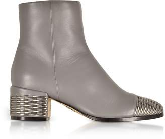 Rodo Gray and Silver Woven Leather Mid Heel Booties