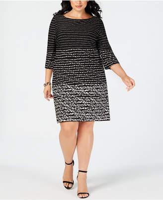 Taylor Plus Size Horizon Stripe Shift Dress