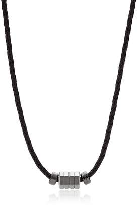 Fossil Black Leather Bead Men's Necklace