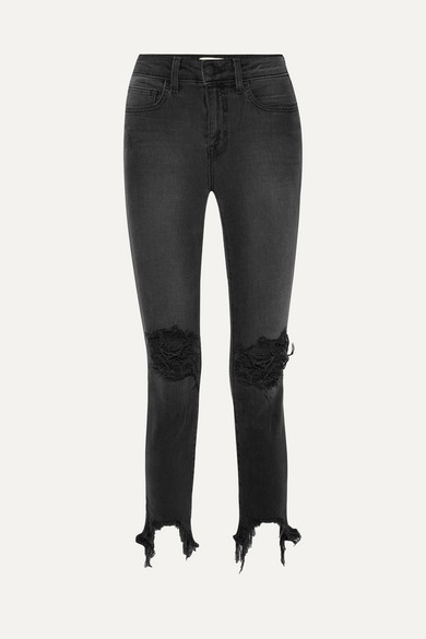 High Line Cropped Distressed Skinny Jeans - Black