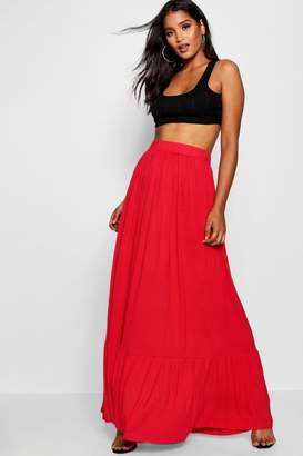 boohoo Tiered Floor Sweeping Maxi Skirt