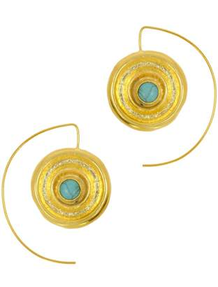 Ottoman Hands - Vinyl Turquoise Wire Through Earrings