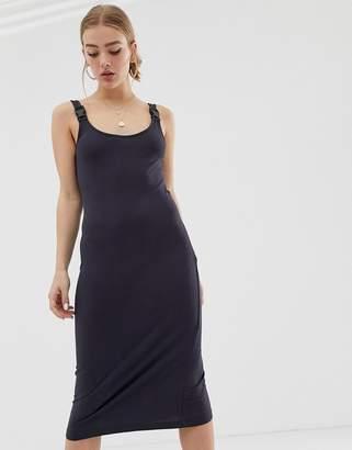Noisy May buckle detail ribbed midi dress