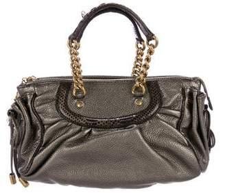 Dolce & Gabbana Snakeskin-Trimmed Metallic Handle Bag