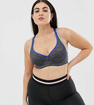 738993bfc7828 Dorina Plus Size Spirit high impact underwired sports bra in grey melange