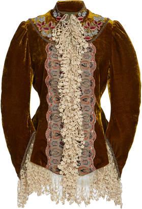 Etro Lace-Trimmed Velvet Jacket Size: 38