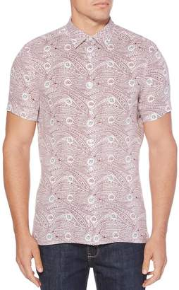 Perry Ellis Linen Paisley Print Regular Fit Shirt