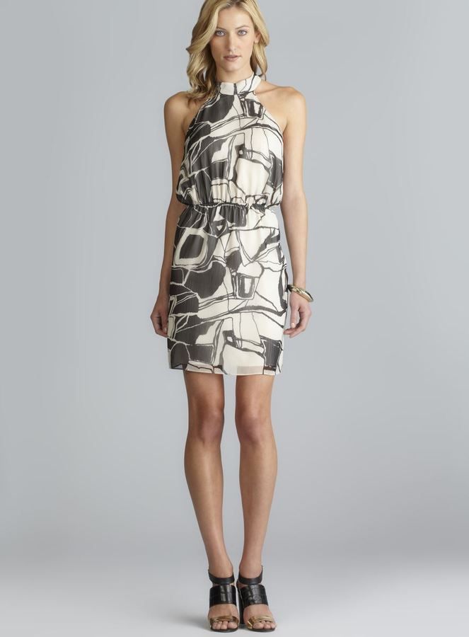 Max & Cleo Sleeveless Keyhole Back Printed Dress