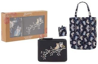 Mantaray Navy Owl Coin Purse And Foldaway Bag Set