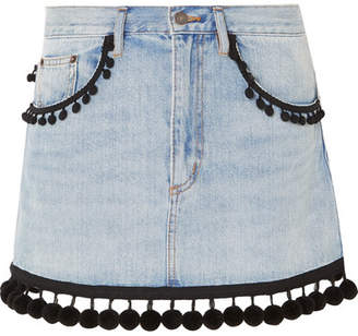 Marc Jacobs Pompom-embellished Denim Mini Skirt