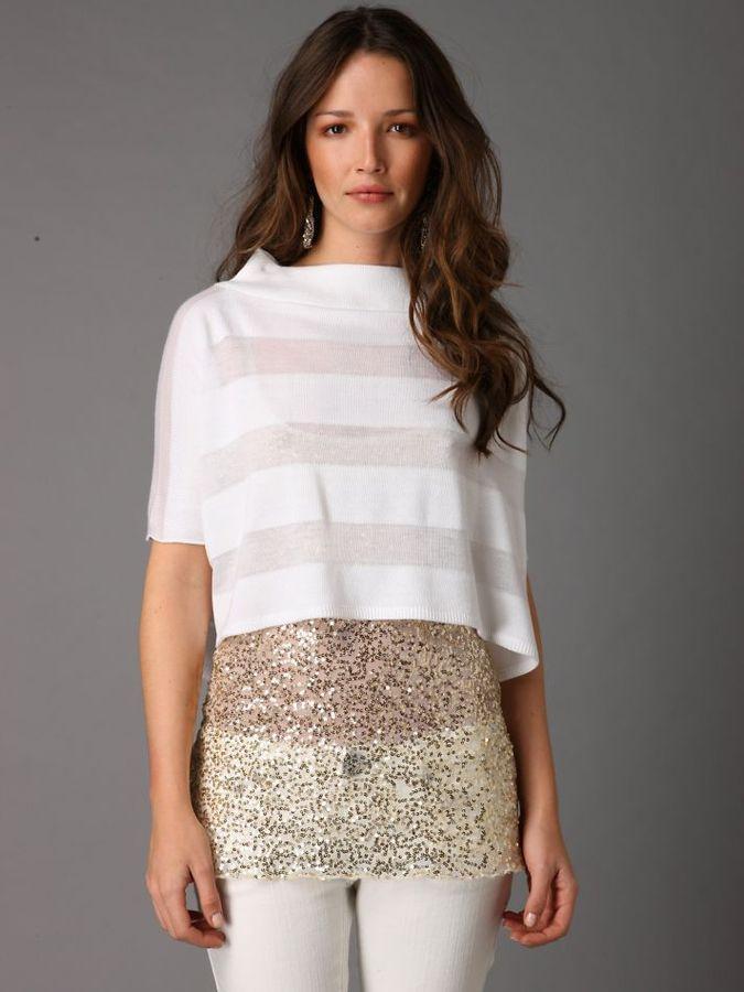 Convertible Sheer Stripe Sweater